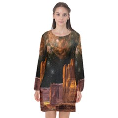 Geology Sand Stone Canyon Long Sleeve Chiffon Shift Dress