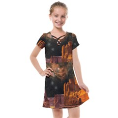 Geology Sand Stone Canyon Kids  Cross Web Dress by Sudhe