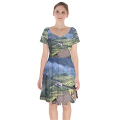 Rock Scenery The H Mong People Home Short Sleeve Bardot Dress