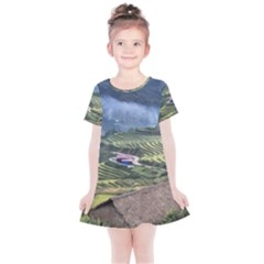 Rock Scenery The H Mong People Home Kids  Simple Cotton Dress by Sudhe