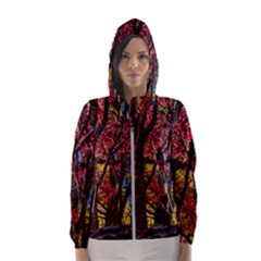 Autumn Colorful Nature Trees Hooded Windbreaker (women) by Sudhe