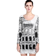 Line Art Architecture Long Sleeve Bodycon Dress by Sudhe