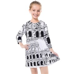 Line Art Architecture Kids  Quarter Sleeve Shirt Dress by Sudhe