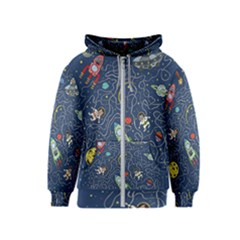 Cat Cosmos Cosmonaut Rocket Kids  Zipper Hoodie