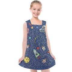 Cat Cosmos Cosmonaut Rocket Kids  Cross Back Dress by Sudhe