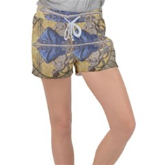 Mosaic Painting Glass Decoration Women s Velour Lounge Shorts by Sudhe