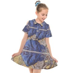 Mosaic Painting Glass Decoration Kids  Short Sleeve Shirt Dress by Sudhe