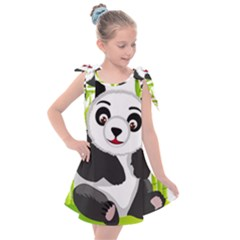 Giant Panda Bear Kids  Tie Up Tunic Dress by Sudhe