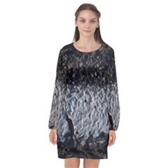 Asphalt Road  Long Sleeve Chiffon Shift Dress