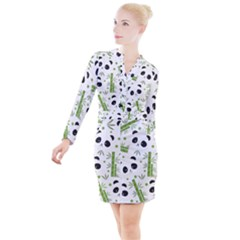 Giant Panda Bear Bamboo Icon Green Bamboo Button Long Sleeve Dress by Sudhe