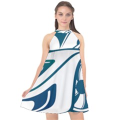 Blue Vector Car Halter Neckline Chiffon Dress