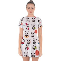 Giant Panda Bear Cuteness Drop Hem Mini Chiffon Dress