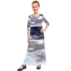 Thunder And Lightning Weather Clouds Painted Cartoon Kids  Quarter Sleeve Maxi Dress by Sudhe