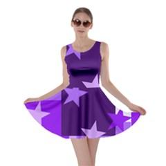 Purple Stars Pattern Shape Skater Dress