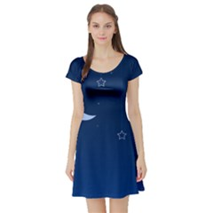 Night Moon Star Background Short Sleeve Skater Dress