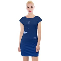 Night Moon Star Background Cap Sleeve Bodycon Dress