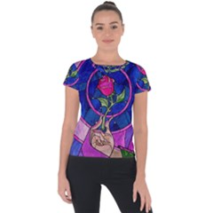 Enchanted Rose Stained Glass Short Sleeve Sports Top  by Sudhe