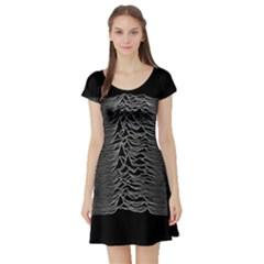 Grayscale Joy Division Graph Unknown Pleasures Short Sleeve Skater Dress