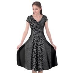 Grayscale Joy Division Graph Unknown Pleasures Cap Sleeve Wrap Front Dress