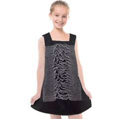 Grayscale Joy Division Graph Unknown Pleasures Kids  Cross Back Dress by Sudhe