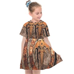 Queensryche Heavy Metal Hard Rock Bands Logo On Wood Kids  Sailor Dress by Sudhe