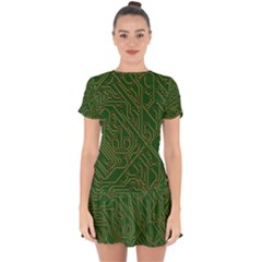 Circuit Board Electronics Draft Drop Hem Mini Chiffon Dress by Pakrebo