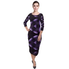 Digital Art Art Artwork Abstract Quarter Sleeve Midi Velour Bodycon Dress