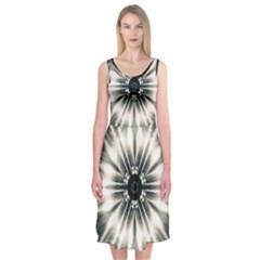 Abstract Fractal Pattern Lines Midi Sleeveless Dress