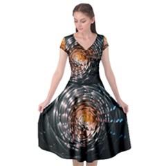 Abstract Fractal Pattern Galaxy Cap Sleeve Wrap Front Dress by Pakrebo