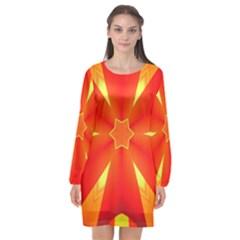 Digital Art Art Artwork Abstract Long Sleeve Chiffon Shift Dress