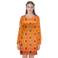 Texture Background Pattern Long Sleeve Chiffon Shift Dress