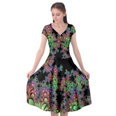 Fractal Art Digital Art Artwork Cap Sleeve Wrap Front Dress by Pakrebo