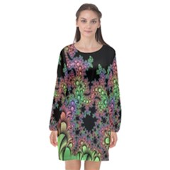 Fractal Art Digital Art Artwork Long Sleeve Chiffon Shift Dress