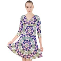 Digital Art Art Artwork Abstract Quarter Sleeve Front Wrap Dress