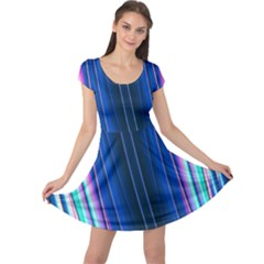 Abstract Fractal Pattern Lines Cap Sleeve Dress