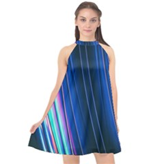 Abstract Fractal Pattern Lines Halter Neckline Chiffon Dress