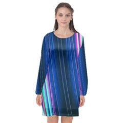 Abstract Fractal Pattern Lines Long Sleeve Chiffon Shift Dress