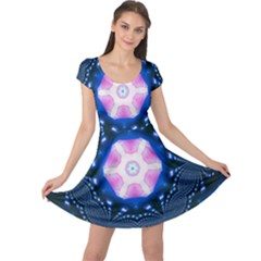 Abstract Fractal Pattern Colorful Cap Sleeve Dress