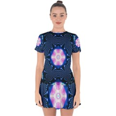 Abstract Fractal Pattern Colorful Drop Hem Mini Chiffon Dress