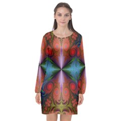 Fractal Fractal Background Design Long Sleeve Chiffon Shift Dress
