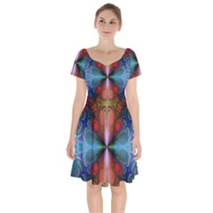 Fractal Fractal Background Design Short Sleeve Bardot Dress