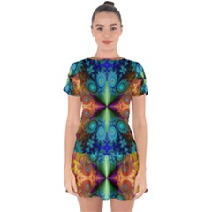 Fractal Fractal Background Design Drop Hem Mini Chiffon Dress