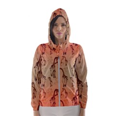 Cute Giraffe Pattern Hooded Windbreaker (women) by FantasyWorld7