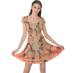 Cute Giraffe Pattern Cap Sleeve Dress
