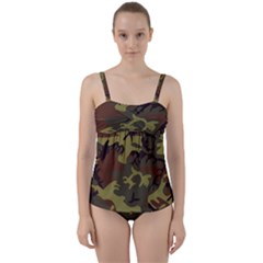 Camo Green Brown Twist Front Tankini Set by retrotoomoderndesigns