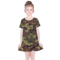 Camo Green Brown Kids  Simple Cotton Dress by retrotoomoderndesigns
