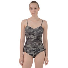 Camo Grey Sweetheart Tankini Set by retrotoomoderndesigns