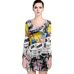 Feminism Collage  Long Sleeve Bodycon Dress by Valentinaart
