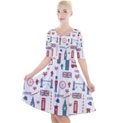London Love Quarter Sleeve A Line Dress by lucia