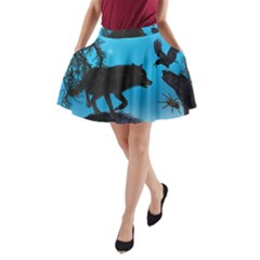 Awesome Black Wolf With Crow And Spider A Line Pocket Skirt by FantasyWorld7